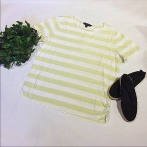 BROOKS BROTHERS short sleeve top ruched striped